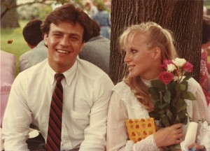 My grad date and I, 1983. He's still around even if some of that hair isn't. The tree? Still there ( see Kate above).