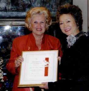 Receiving the Caring Canadian award from former Governor General Adrienne Clarkson